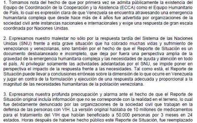 Comunicado de las organizaciones de la sociedad civil venezolana en relación al Reporte de Situación sobre el escalamiento humanitario de la ONU en Venezuela