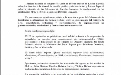 Comunicación de Relatores Especiales al gobierno.