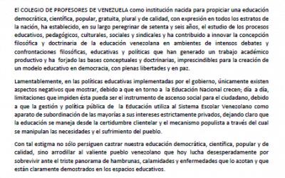 MANIFIESTO DEL COLEGIO DE PROFESORES DE VENEZUELA