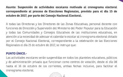 Suspensión de actividades escolares – Elecciones 15 de octubre 2017.