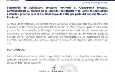 Cinco días de clases perderán los chamos por el proceso electoral del próximo 20 de mayo.